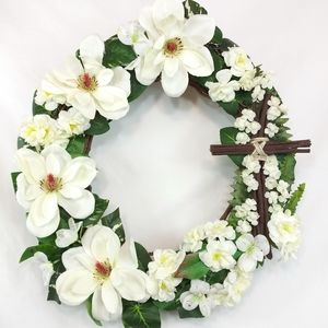 Easter Magnolia Flowers Wood Cross Grapevine Wreat